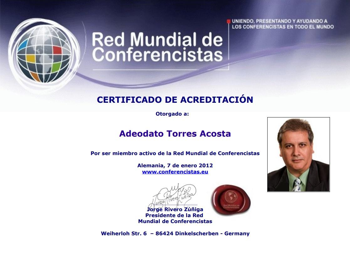 Certificado Adeodato Torres